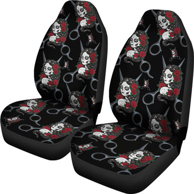 Skull Hairstylist Car Seat Covers (set of 2)