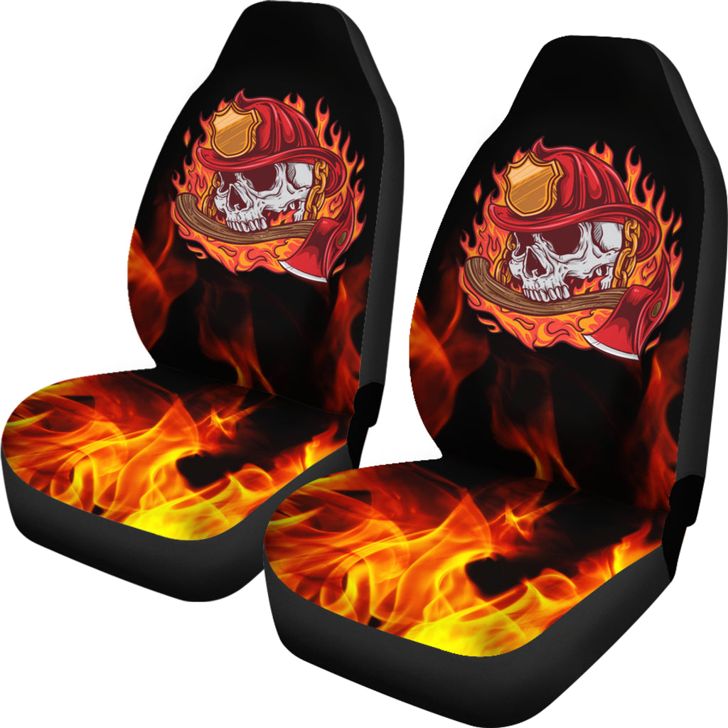 Terrific Fire Skull Car Seat Covers Set Of 2 Pdpeps Interior Chair Design Pdpepsorg