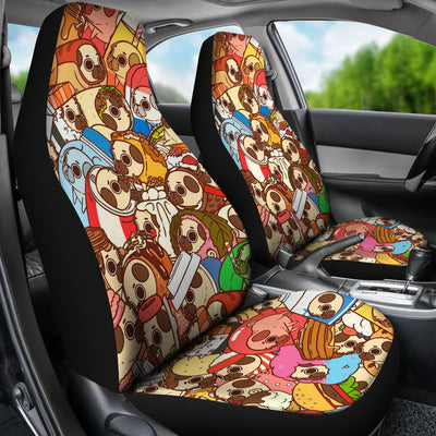 Cartoon Pugs Car Seat Covers (set of 2)