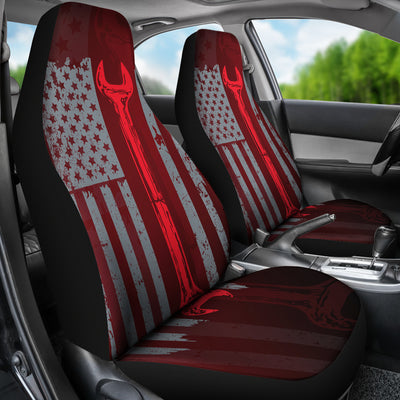 Mechanic Flag Car Seat Covers (set of 2)