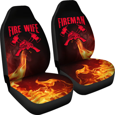 Fireman Fire Wife Car Seat Covers (set of 2)