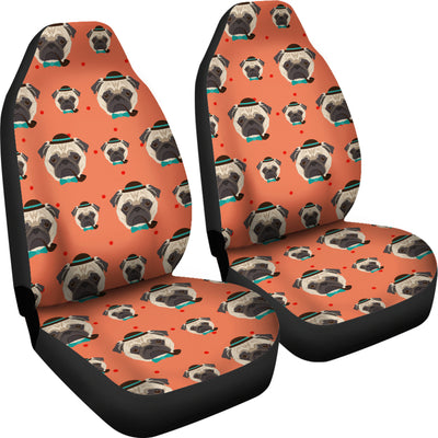 Hipster Pug Car Seat Covers (set of 2)