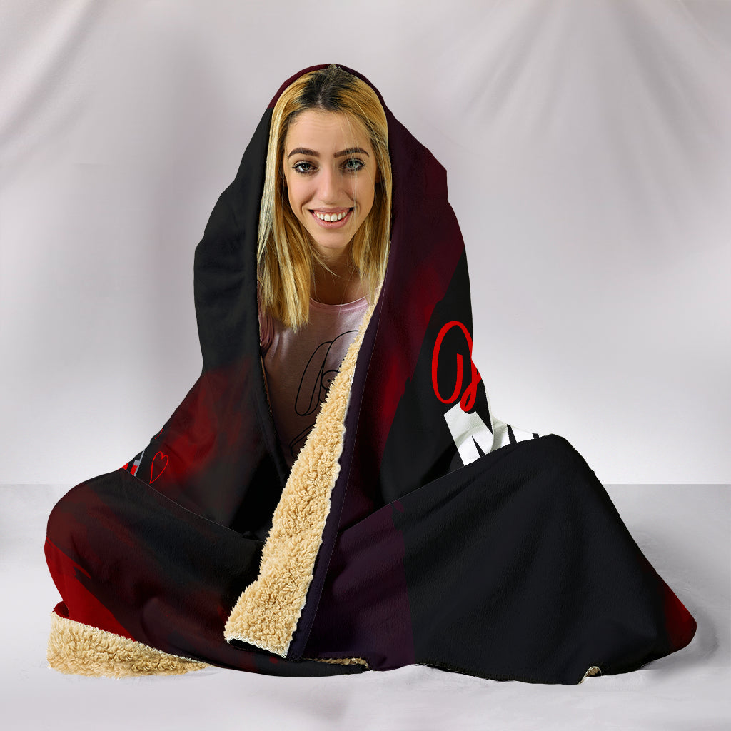 Just A Mom Who Loves Wine Hooded Blanket