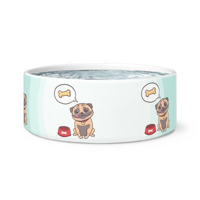 Hungry Pug Dog Bowl