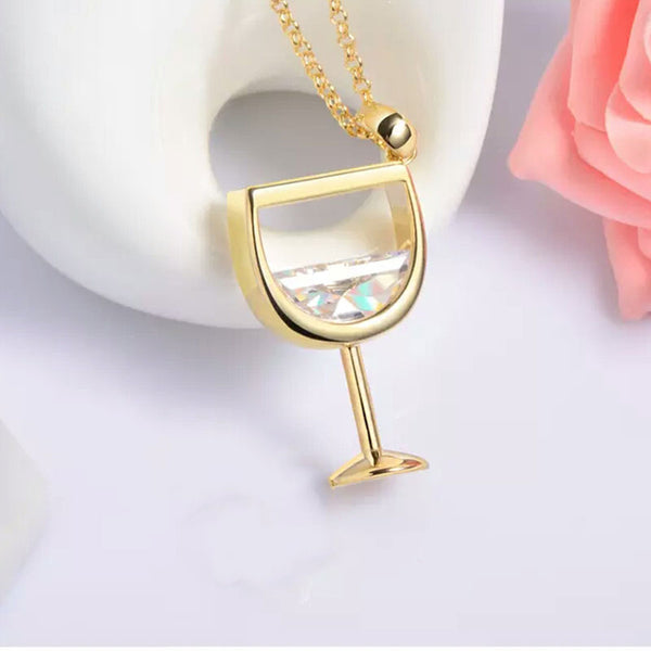 Gold Wine Glass Necklace