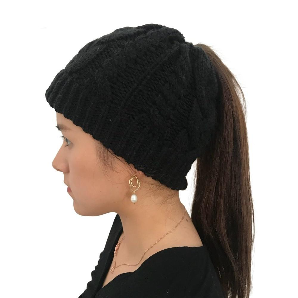 Women's Stretch Wool Ponytail Beanie