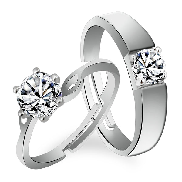 Asmitta Rhodium Plated Solitaire Rings With Crystal Stones For Couples