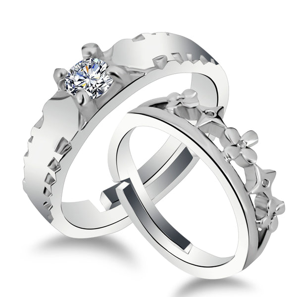 Urbana Rhodium Plated Solitaire Couple Ring Set With Crystal Stone - 1506379