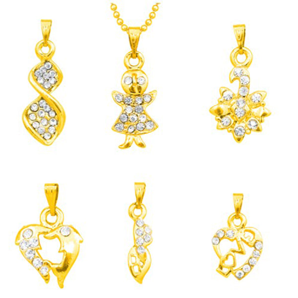 14ashions Pack Of 6 Gold Plated Pendents Combo