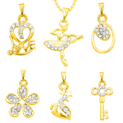 The99Jewel Pack of 6 Golden Pendant With 1 Chain Combo - Jewelmaze.com