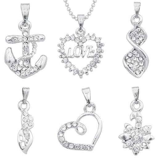The99Jewel Set Of 6 Pendant With 1 Chain Combo - 1002350-CL