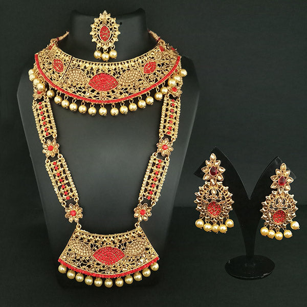 low amazon india i maang jewellery set for earrings tikka with gold prices jewels women store plated traditional online necklace at dp buy in