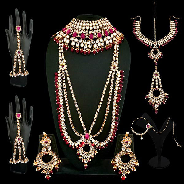 14Fashions Maroon Beads Kundan Bridal Set