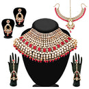 14Fashions Red Beads Kundan Bridal Set