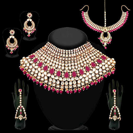 14Fashions Pink Beads Kundan Bridal Set