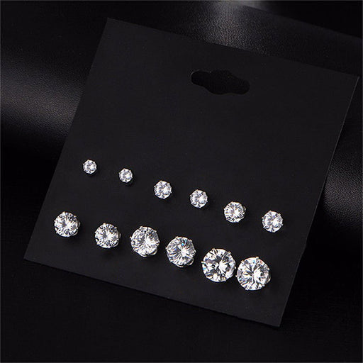 Urthn Set of 6 Cubic Zirconia CZ Stud Earrings Combo