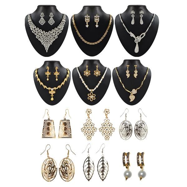 14Fashions Set Of 12 Jewellery Combo - 1002641-CL