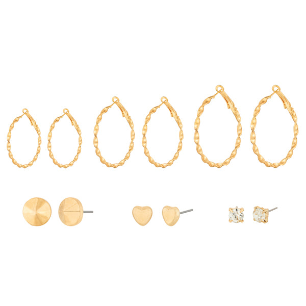 14Fashions Gold Plated Set of 6 Earrings Combo
