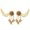 Kriaa Brown Stone Gold Plated Pearl Dangler Kan Chain Earrings