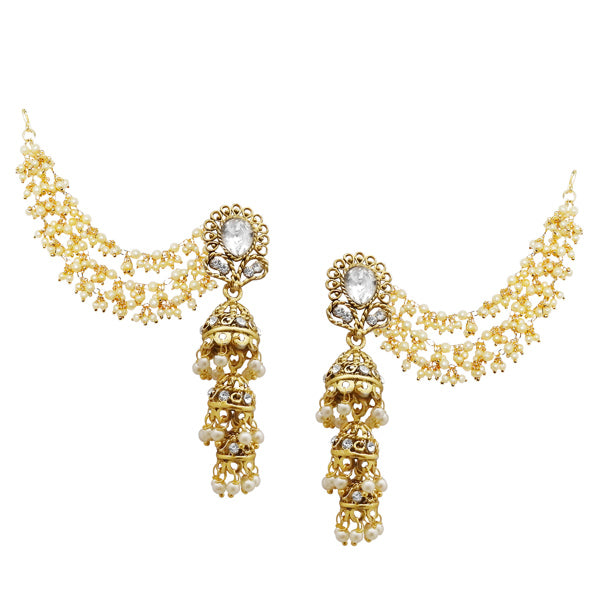 Kriaa Gold Plated White Stone Pearl Kan Chain Earrings