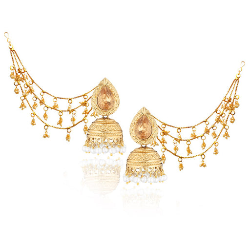 Kriaa Austrian Stone Gold Plated Jhumki Kan Chain Earrings