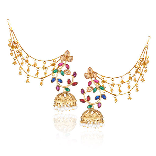 Kriaa Austrian Stone Jhumki Kan Chain Earrings