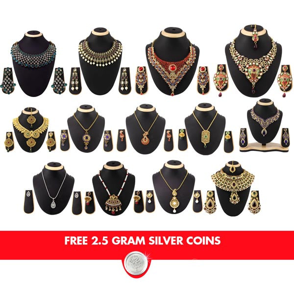 14Fashions Set Of 13 Jewellery Combo With Free Silver Coin