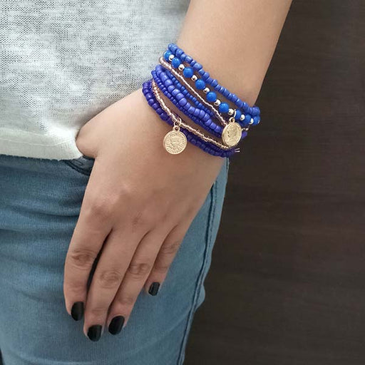 14Fashion Blue Beads Multi Layered Bracelet