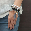 14Fashion Black Beads Multi Layered Bracelet