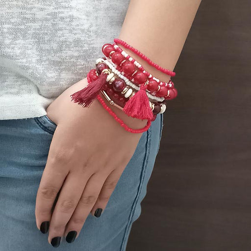14Fashion Maroon Beads Multi Layered Bracelet