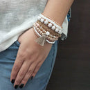 14Fashion Brown Beads Multi Layered Bracelet