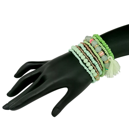 14Fashion Green Beads Multi Layered Bracelet