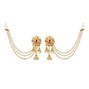 Kriaa  Red Stone Gold Plated Kan Chain Earrings