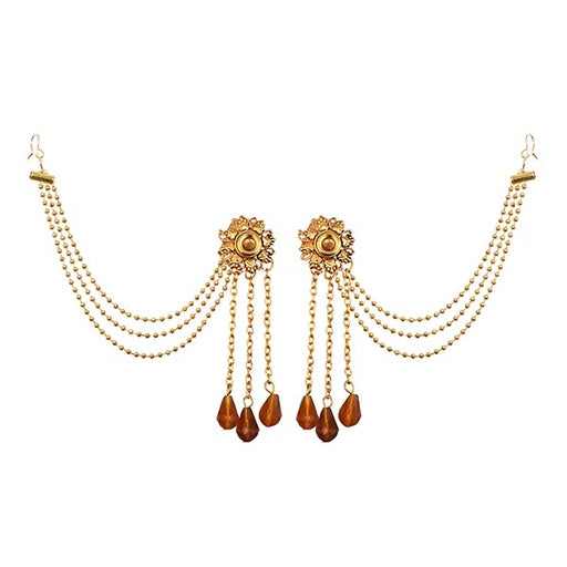 Kriaa Brown Stone Gold Plated Kan Chain Earrings