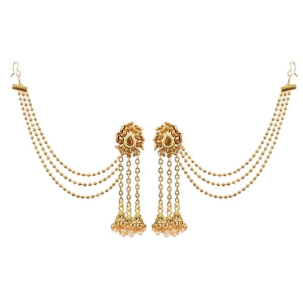 Kriaa Gold Plated Brown Stone Kan Chain Earrings