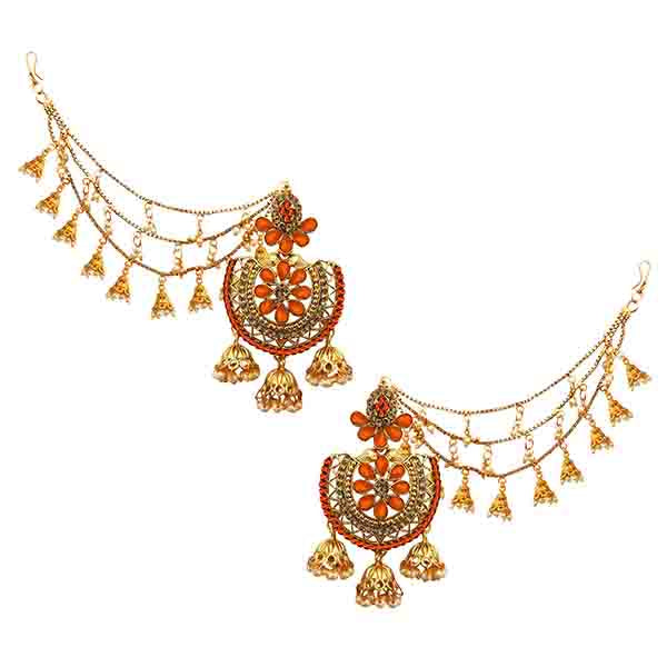 14Fashionss Kundan Stone Gold Plated Kan Chain Earrings