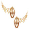14Fashions AD Stone Gold Plated Kan Chain Earrings