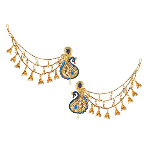 14Fashions Peacock Design Gold Plated Kan chain Earrings