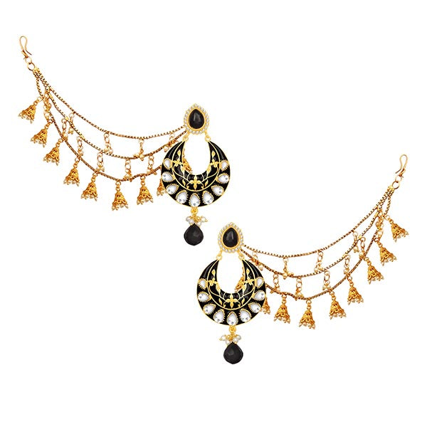 14Fashions Stone Meenakari Gold Plated Kan Chain Earrings