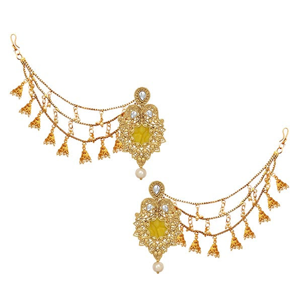 14Fashions Kundan Stone Gold Plated Kan Chain Earrings