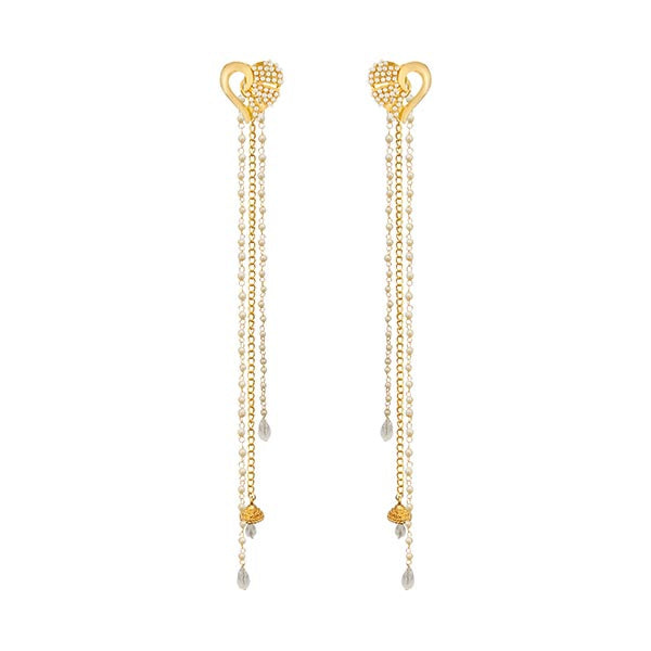 14Fashions Heart Design Gold Plated Kan Chain Earrings