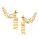 Kriaa Gold Plated Stone Pearl Polki Jhumki Kan Chain Earrings -1003570