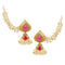 Kriaa Gold Plated Pink Stone Pearl Polki Jhumki Kan Chain Earrings