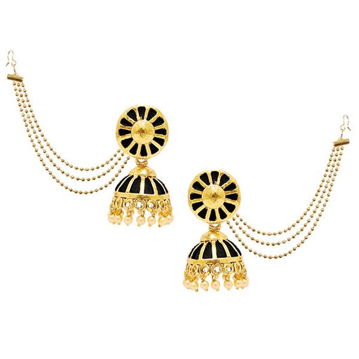 Kriaa Gold Plated Black Meenakari Pearl Kan Chain Earrings