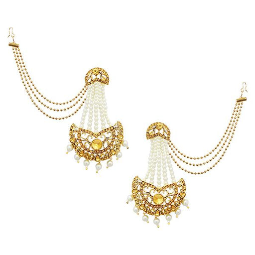 Kriaa Brown Stone Gold Plated Pearl Pasa Kan Chain Earrings