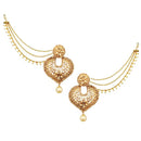 Kriaa Brown Stone Gold Plated Pearl Kan Chain Earrings
