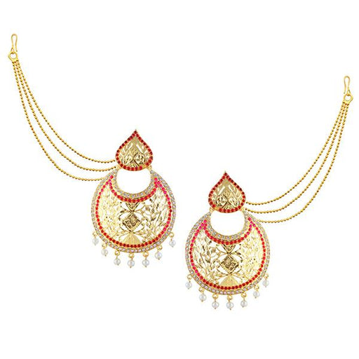 Kriaa Red Austrian Stone Gold Plated Pearl Kan Chain Earrings