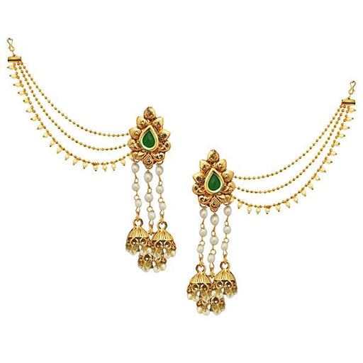 Kriaa Green Stone Gold Plated Pearl Kan Chain Earrings