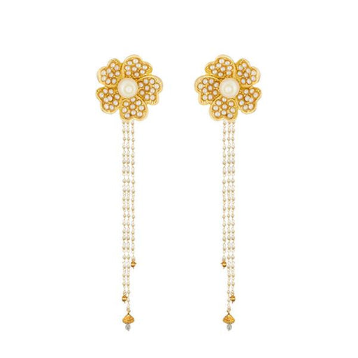Kriaa White Pearl Gold Plated Kan Chain Earrings