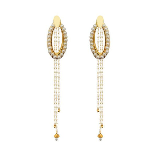 Kriaa Gold Plated White Pearl Kan Chain Earrings